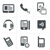传染媒介黑电话象 免版税库存图片