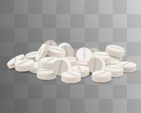 传染媒介白色药片 隔绝在透明背景 库存照片