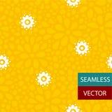 传染媒介白色&黄色花无缝的样式设计 库存照片