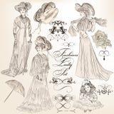 传染媒介的汇集详述了古板的vin的时尚夫人 库存照片