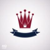 传染媒介皇家冠与波动丝带 与装饰弯曲的带的经典冠 库存图片