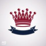 传染媒介皇家冠与波动丝带 与装饰弯曲的带的经典冠 免版税库存图片