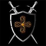 传染媒介盾和剑 免版税库存照片
