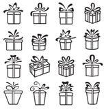 传染媒介礼物盒象,假日礼物 免版税库存照片