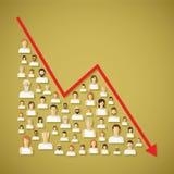传染媒介社会网络人口和人口统计学下降概念 向量例证