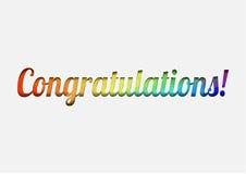 传染媒介祝贺与颜色信件的庆祝卡片 库存照片