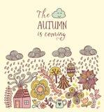 传染媒介秋天乱画卡片 递凹道树和叶子在城市 在行情上写字 雨的季节,边界例证, gre 皇族释放例证