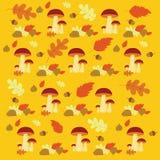 传染媒介秋天森林蘑菇和叶子样式 库存图片