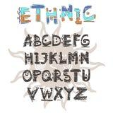 传染媒介种族字母表 拉长的现有量信函 字母表写与一个水基的标志 库存图片