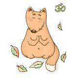 传染媒介滑稽的动物瑜伽动画片设计 图库摄影