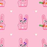 传染媒介滑稽的动画片兔宝宝圣情人节 免版税库存照片