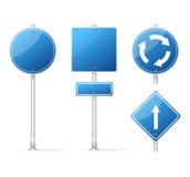 传染媒介空白的交通标志蓝色集合 免版税库存图片
