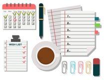 传染媒介笔记本议程企业笔记计划工作提示计划者组织者例证 免版税库存图片