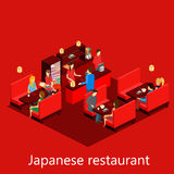 传染媒介等量寿司餐厅 大厦象 免版税库存图片