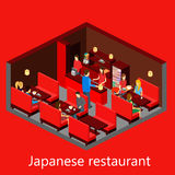 传染媒介等量寿司餐厅 大厦象 库存照片