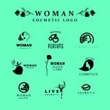 传染媒介简单的平的化妆商标模板收藏 库存例证