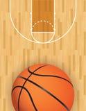 传染媒介篮球和硬木法院 免版税库存照片