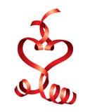 传染媒介红色丝带的缎心脏 库存照片