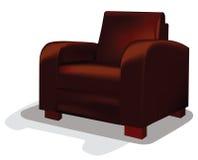 传染媒介红色皮革木盆椅子 免版税图库摄影
