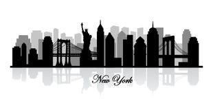 传染媒介纽约地平线剪影 库存图片