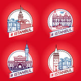传染媒介线伊斯坦布尔历史徽章集合 免版税库存照片