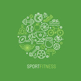 传染媒介线性体育和健身商标 库存图片