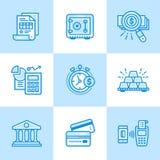 传染媒介线性象设置了财务,开户 优质现代 免版税库存照片