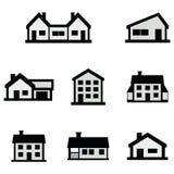 传染媒介线房子象在白色背景设置了 库存例证
