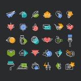 传染媒介线icons& x27;设置与颜色几何口音 免版税库存照片