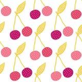 传染媒介美味的樱桃无缝的样式背景 库存图片