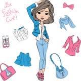 传染媒介美好的时尚女孩上面模型 库存图片