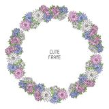 传染媒介美好的花卉框架 例证 免版税库存照片