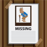 传染媒介-老妇人失踪在墙壁褐色背景宣布 免版税图库摄影