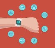 传染媒介聪明的手表健身体育概念 便携的技术 屏幕跟踪的app信息 免版税库存图片