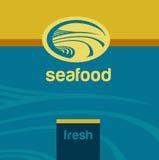 传染媒介背景和商标标签 海边 免版税库存图片