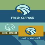 传染媒介背景和商标标签 海边 免版税库存照片
