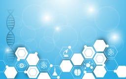 传染媒介背景科学摘要六角形设计 免版税库存图片
