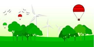 传染媒介背景,有风车的eco土地 向量例证