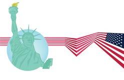 传染媒介-自由女神像和美国旗子 库存图片