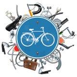 传染媒介自行车饶恕与蓝色圆的标志的概念 向量例证