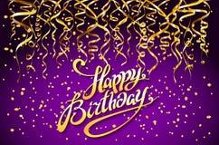 传染媒介紫色党背景 生日快乐庆祝设计,传染媒介金五彩纸屑元素,贺卡模板紫罗兰色Co 免版税图库摄影