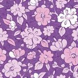 传染媒介紫色和服florals无缝的样式 向量例证