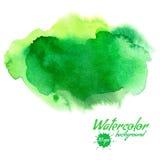 传染媒介绿色抽象手拉的水彩背景 免版税库存图片