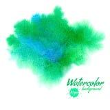 传染媒介绿色抽象手拉的水彩背景 库存图片