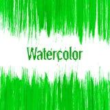传染媒介绿色抽象手拉的水彩背景 免版税库存照片