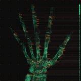 传染媒介绿色抽象手X线体层照相术分析例证 数字式棕榈X-射线扫描 医疗数据MRI形象化 免版税库存照片