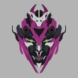 传染媒介紫色机器人头 库存图片