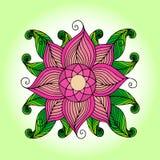 传染媒介色的花卉背景 与花的乱画手拉的装饰品 也corel凹道例证向量 免版税库存照片