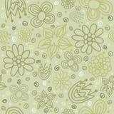 传染媒介绿色花卉无缝的样式 免版税库存图片
