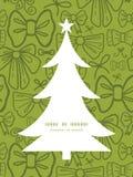 传染媒介绿色鞠躬圣诞树剪影 库存照片